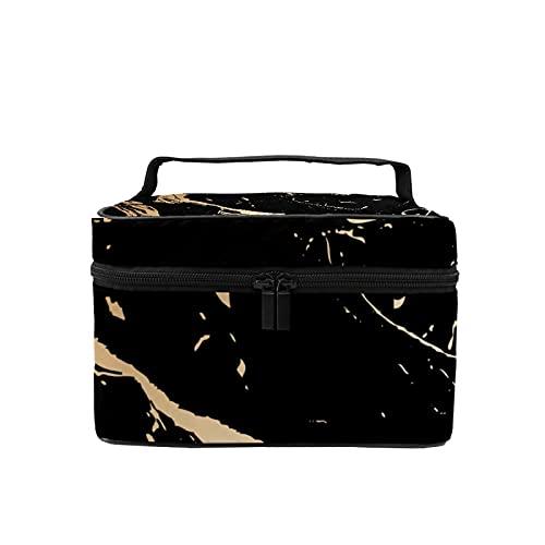 Bolsa de maquillaje de viaje, bolsa de cosméticos grande, abstracta, textura de mármol, organizador con bolsa de malla para mujeres y niñas