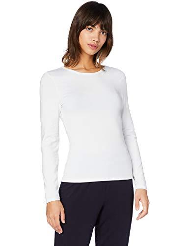 Iris & Lilly Camiseta Térmica Extra Cálida de Manga Larga Mujer, Blanco (Blanco), M, Label: M