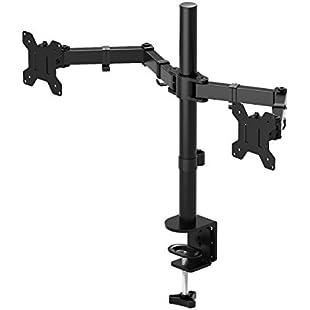 "Customer reviews 1home Double Twin Arm Desk Mount Ergonomic TV LCD Monitor Computer Screen Bracket Dual Tilt Swivel Rotation 13""-27"""
