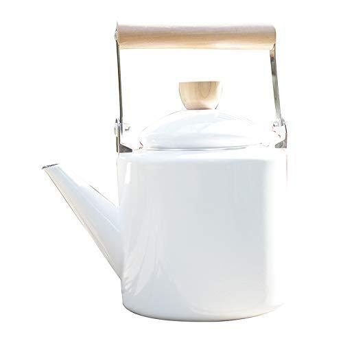Tetera esmaltada esmaltada con forma de hervidor de agua de 2,2 L, color marrón, 2 l de alto recto, color blanco, maceta recta alta de 2 l