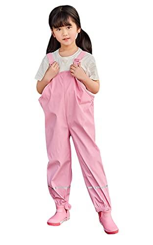 Idgreatim Rosa Regenhose für Kinder Kinder Gefüttert Thermo Wasserdicht Atmungsaktiv Regenhose Matschhose