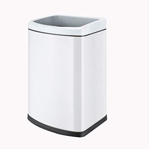Papelera de reciclaje de residuos duraderos / Papelera de basura de acero inoxidable sin cubierta Bote de basura de gran capacidad para el hogar Cocina Baño Dormitorio Cubo de almacenamiento para el h