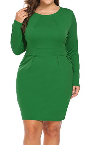 IN'VOLAND Women's Plus Size Long Sleeve Round Neck Business Dress Retro Casual Bodycon Pencil Dress Green