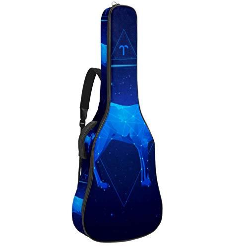 Aries - Bolsa de guitarra acústica con múltiples bolsillos y acolchado grueso para guitarra