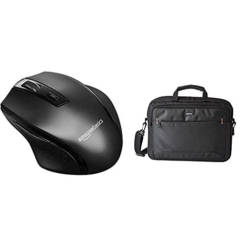 Amazon Basics - Ergonomische kabellose Maus - DPI einstellbar - Schwarz & kompakte Laptoptasche, Umhängetasche/Tragetasche mit Taschen, für Laptops bis zu 15,6 Zoll (40 cm), Schwarz, 1 Stück