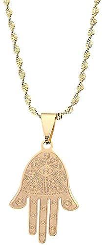 Zaaqio Collar Egipcio de Ojo de la Suerte, Collar con Colgante de Mano de Fátima, joyería de Palmera de Mano, Regalo para Mujeres y Hombres, Regalo