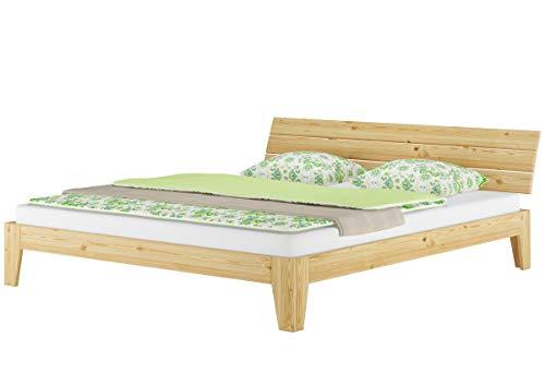 Erst-Holz® Ehebett Doppelbett 180x200 Futonbett Massivholz Kieferbett Natur Rollrost Matratze 60.62-18 M2