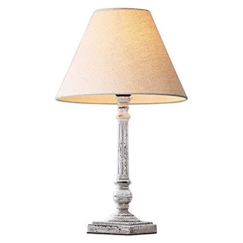Loberon Tischlampe Pruines, MDF, Leinen, Polyester, H/B/T 47,5/26 / 26 cm, antikweiß, E27, max. 60 Watt, A++ bis E