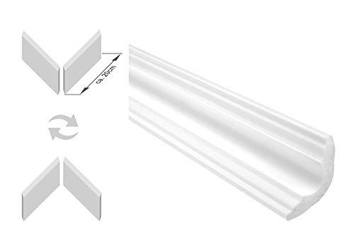 Zierleisten Sparpaket E-42-NK | inkl. vorgefertigte Ecken | leicht und stabil | extrudiertes Styropor | Stuckprofile | modern weiß | dekorativ | XPS | 35 x 35 mm | 20 Meter + 4 Ecken