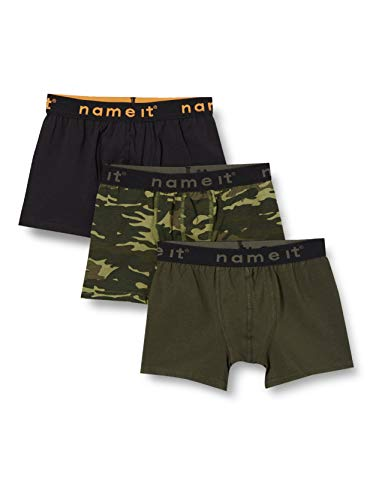 NAME IT Jungen NKMBOXER 3P Loden Green CAMO NOOS Boxershorts, 110-116
