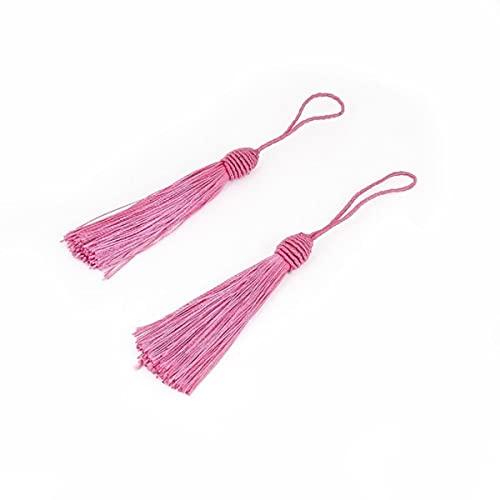 10 unids / Lote Borla de Seda de poliéster 15 cm Adornos de Flecos de Borla de algodón para decoración de Boda en casa Accesorios de Cortinas de Costura DIY-Fucsia