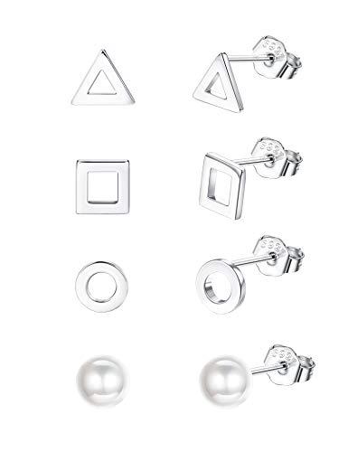 Sllaiss Juego de 4 pares de pendientes geométricos de plata de ley para mujer, triángulo, cuadrado, perlas redondas, hipoalergénicos