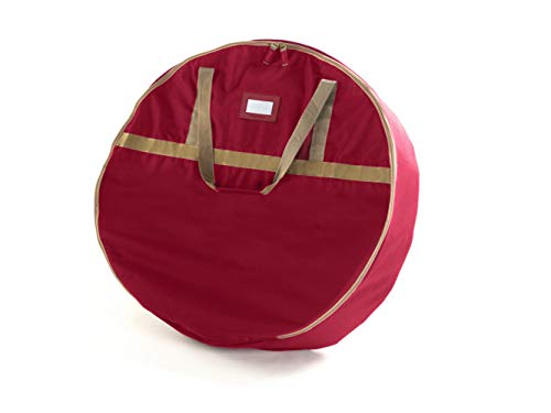 """Covermates Keepsakes 24"""" Christmas Wreath Storage Bag – Heavy Duty Polyester - Interior Pouch - Dual Zipper Pulls - Holiday Storage - Red"""