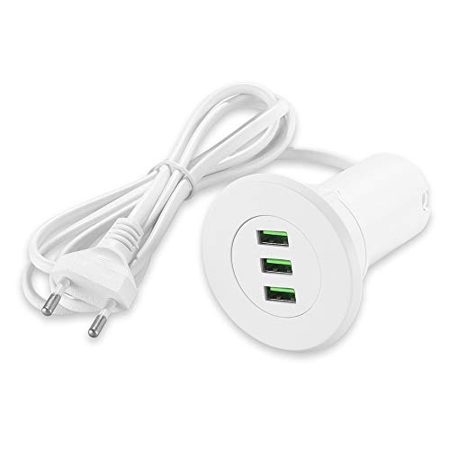 Winbang Cargador USB, portátil Hub Port 3-Grommet Desktop Hole Cargador portátil para 5V 3.1A de Carga rápida (Blanco)