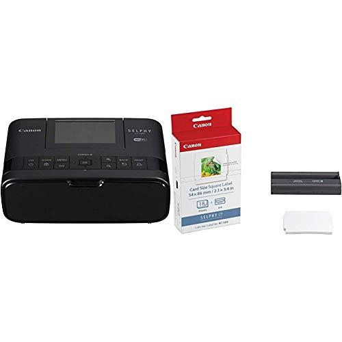Canon Selphy CP1300 Fotodrucker 10x15 cm (mobiler Drucker, WLAN, USB, 300x300 DPI, optionaler Akku, Farbdisplay), schwarz & KC-18 is 5 x 5cm Sticker-Papier für Selphy Drucker