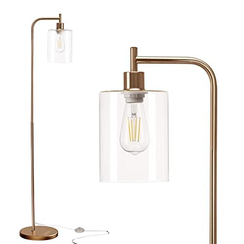 KLDDE Lámpara de pie LED, luz Moderna de Temperatura con Control de pie, lámparas de pie industriales con Tono de Vidrio Mate de Jade Colgante para dormitorios, Sala de Estar (Color : Gold)