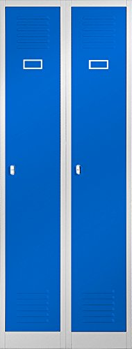 Jan Nowak by Domator24 Kleiderspind Stahlspind Garderobenschrank Spind Pulverbeschichtung Flügeltüren, Lüftungsschlitzen, 2 Abteile Trennwand 180 cm x 60 cm x 50 cm(H x B x T) (grau/blau)
