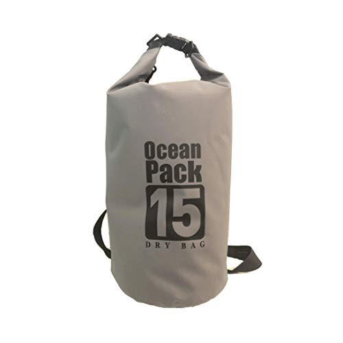Ocean Pack Bolsa de natación, mochila impermeable para kayak Boat, canotaje, pesca, rafting, natación, snowboard, esquí, mochila impermeable, bolsa de 15 L, gris