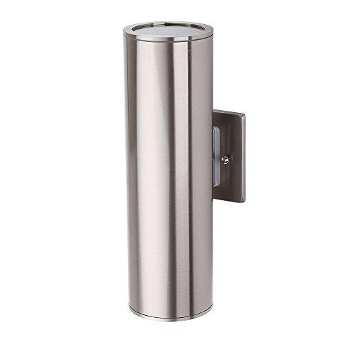 TENGXIN - Lámpara de pared para exteriores (acero inoxidable 304 y cristal endurecido, 2 luces, E27, resistente al agua, certificación UL)