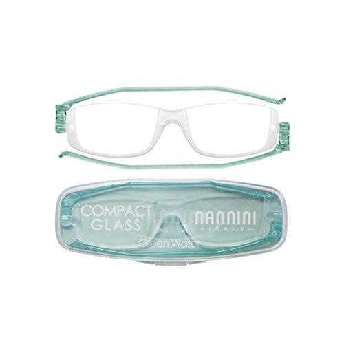 老眼鏡 コンパクトグラス2 nannini リーディンググラス 男性用 女性用 メンズ レディース シニアグラス 全12色(+1.00,グリーンウォーター)