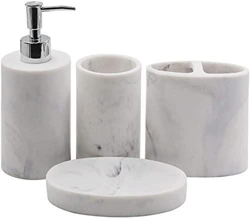 Ulable - Set di accessori da bagno, 4 pezzi, include dispenser di sapone, portaspazzolino, bicchiere, portasapone