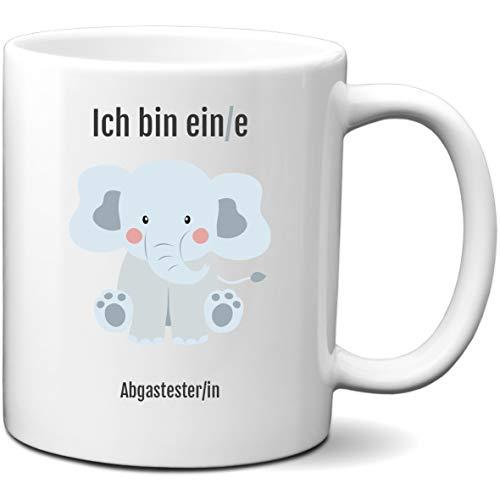 schildgetier Tasse mit Spruch - Ich Bin EIN/e Abgastester/in - Kaffeetasse beidseitig Bedruckt mit Beruf und Motiv Elefant lustige Geschenk Tassen für Arbeit, Büro, Prüfung
