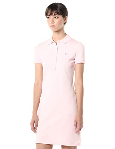 Lacoste Womens Stretch Cotton Short Sleeve Mini Piqué Polo Dress Dress, Flamingo Pink, 10