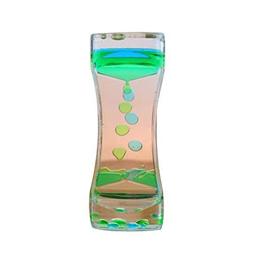 mi ji Temporizador de Burbuja de Movimiento de Reloj de Arena de Dos Colores para la Terapia Relajante Alivia el estrés y Aumenta el Juguete de Juguete Azul y Verde