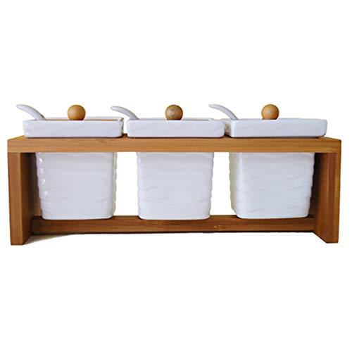 Especiero Herramienta de cocina 3pc Set Spice Storage Tins Bamboo Rack Tarjetas de cerámica Cucharas for el regalo de Pepper Azúcar Almacenamiento de cocina, almacenamiento de especi