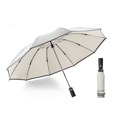 WUHUAROU Paraguas Grande invertido Plegable automático a Prueba de Viento de 10 K, Paraguas inverso, Parasol Reflectante de Lluvia y Sol para Coche (Color : White)