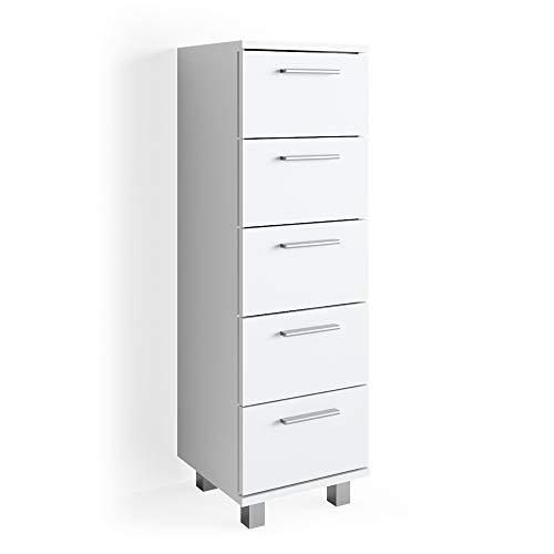 Vicco Beistellschrank Ilias 95 x 30 cm - Midischrank Badezimmerschrank Badschrank Schrank Regal (Weiß)