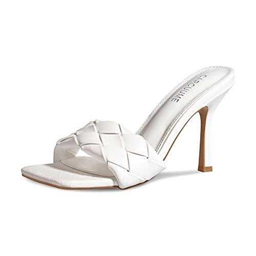 Women's Square Open Toe Heeled Woven Leather Sandals Stiletto Slip On Quilted High Heels, Annie-White-9