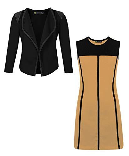 LOTMART Mädchen Beutel Kleid Und Blazer Bündel (Packung 2) - Senf und Schwarz, 134-140