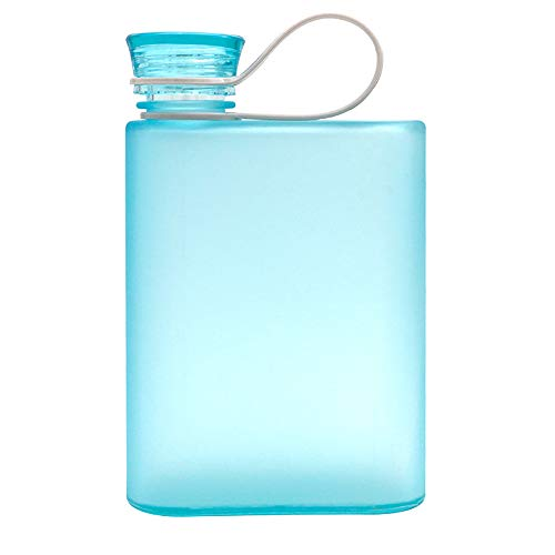 Eco Memos Botella de Agua Plana 380ML A5 Botella de Agua Taza de Viaje Portátil Plana Botella Delgada sin BPA para Actividades Escolares Gimnasio al Aire Libre Ciclismo Senderismo (Azul)