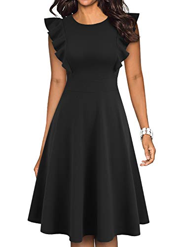 YATHON Women's Vintage Ruffle Floral Flared A Line Swing Casual Cocktail Party Dresses (XL, YT001-Black)
