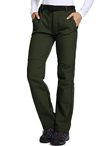 Jessie Kidden Women's Outdoor Fleece Lined Soft Shell Hiking Fishing Ski Snow Pants Insulated Waterproof Wind Resistant,801F,Army Green,US L 34