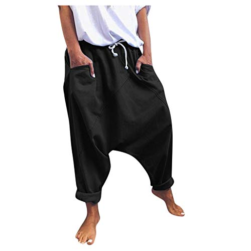 WGNNAA Haremshose Damen Aladinhose Yogahose Lose Hosen mit tiefem Schritt Yoga Pumphose Baggy Ballon Baggy Sweatpants Jogginghose Hippie Hose Haremshose