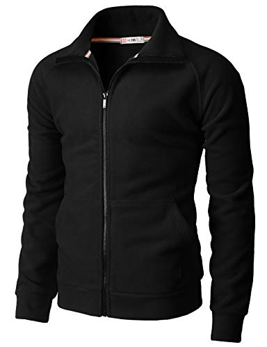 H2H Mens Active Slim Fit Track Lightweight Jacket Zip-up Long Sleeve Training Fleece Jacket Black US L/Asia XL (CMOJA131)