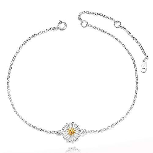 BETOY Collar de Margarita S925 Plata, Colgante Cadena de Flor de Girasol, para Madre Mujer, Niña, Regalo de San Valentín