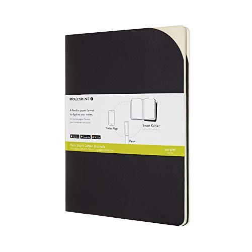 Moleskine Smart Cahier Journals Set da 2 Cahier Digitali con Pagine Bianche, Compatibili con Pen+, Copertina in Cartoncino, Formato Extra Large 19 x 25 cm, Nero, 120 Pagine