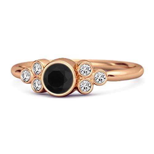 Shine Jewel Multi Elija su Bisel de Piedras Preciosas engastado 0.25 CTS Plata de Ley 925 Chapado en Oro Rosa Boho Anillo (12, espinela Negra)