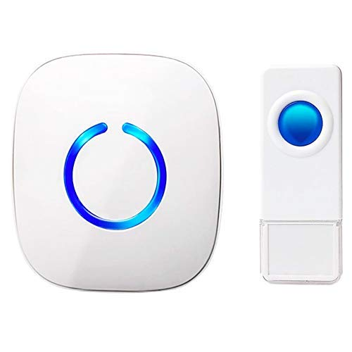 SadoTech Waterproof White Wireless Doorbell & Chime For Home - Model C - 1 Push-Button Ringer, 1 Sound Receiver - Battery Operated, Waterproof, Long Range, 52 Door Bell Sounds, 4 Volumes