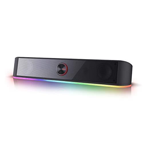 Redragon GS560 Adiemus RGB Desktop Soundbar, 2.0 Channel Computer Speaker with Dynamic Lighting Bar Audio-Light Sync Display, Touch-Control Backlit with Volume Knob, USB Powered w  3.5mm Cable