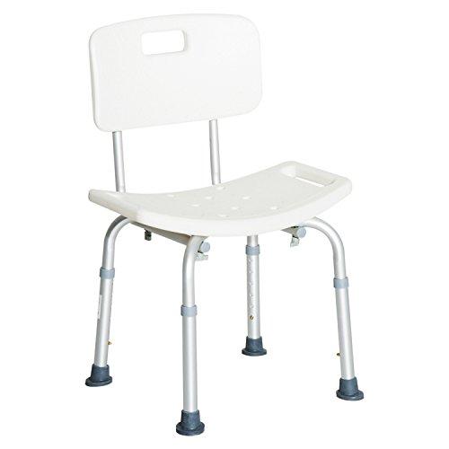 HOMCOM Silla ducha aluminio ayuda baño taburete banqueta regulable ajustable wc asiento ⭐