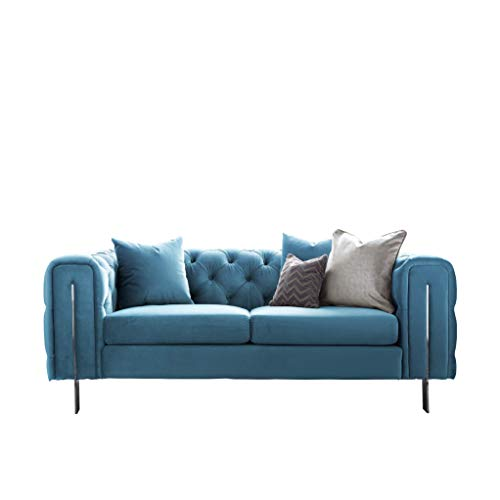Roseland Furniture - Ritz Peacock Velvet Fabric Chesterfield Sofa for Living Room - Traditional Button Tufted 2 Seater - 3 Seater - Armchair with Stainless Steel Feet (Peacock, 2 Seater)