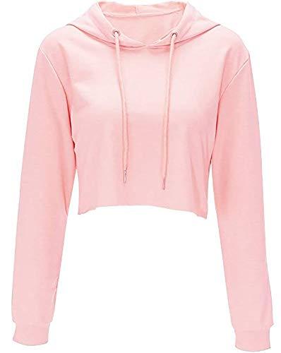Hoodies for Women Workout Crop Top Hoodie Hooded Pullover Sweatshirt (Pink, S)