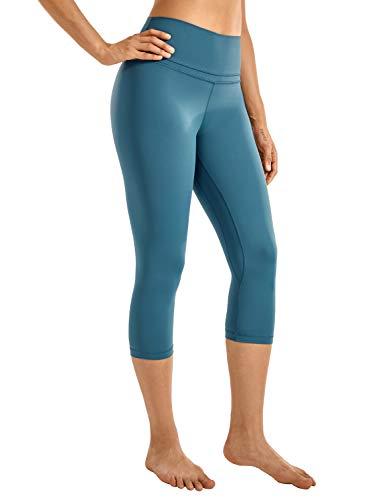 CRZ YOGA Mujer Naked Feeling Leggings Deportivas Cintura Alta Yoga Fitness Pantalones con Bolsillo -48cm Azul de Gasolina R418 36