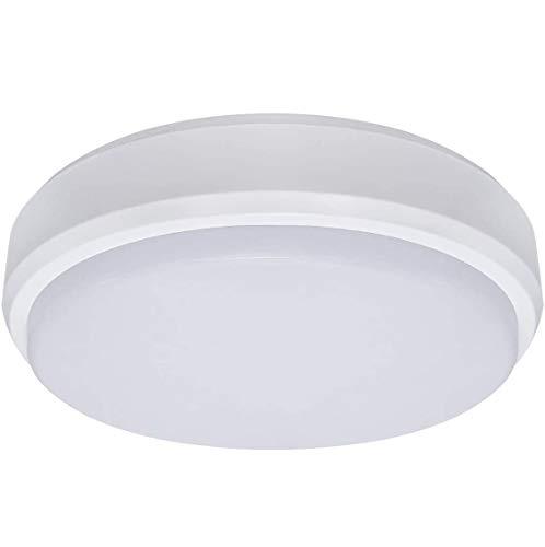Lámpara de techo LED redonda de 20 W con sensor de movimiento IP65 para interiores y exteriores, tecnología de microondas PIR de 6000 K