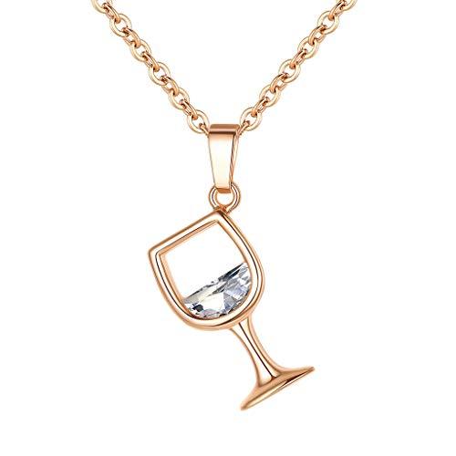 Cloodut Damen Schmuck,Weinglas Anhänger Zirkonia Langkettige Halskette Schmuck Charms Geschenk(Rose Gold)