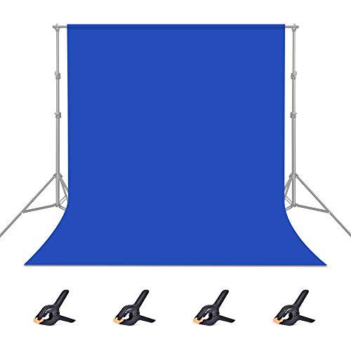 UTEBIT 1.8x2.8M/6x9FT Bluescreen Hintergrund Blau Fotohintergrund Polyester Photography Backdrop für Hintergrundstand,Fotografie, Video und Fernsehen